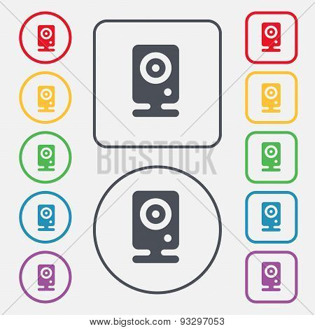 Web Cam Icon Sign. Symbol On The Round And Square Buttons With Frame. Vector