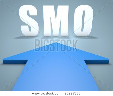 SMO - Social Media Optimization - 3d render concept of blue arrow pointing to text. poster