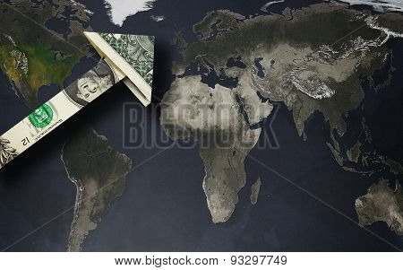 Dollar Arrow On A World Map