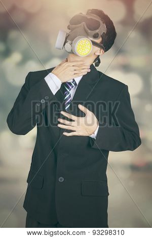 Worker With Gas Mask And Bokeh Background
