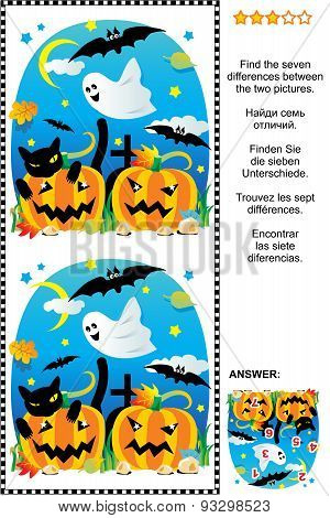 Halloween find the 7 differences visual puzzle