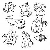 Set of cute pretty hand-drawn pets volume simple contour dreaming cats with fish dog and crows Easy circuit for embroidery painting creating application or element of design Vector art illustration poster