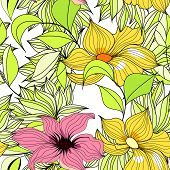 Seamless floral wallpaper. Universal template for greeting card, web page, background poster