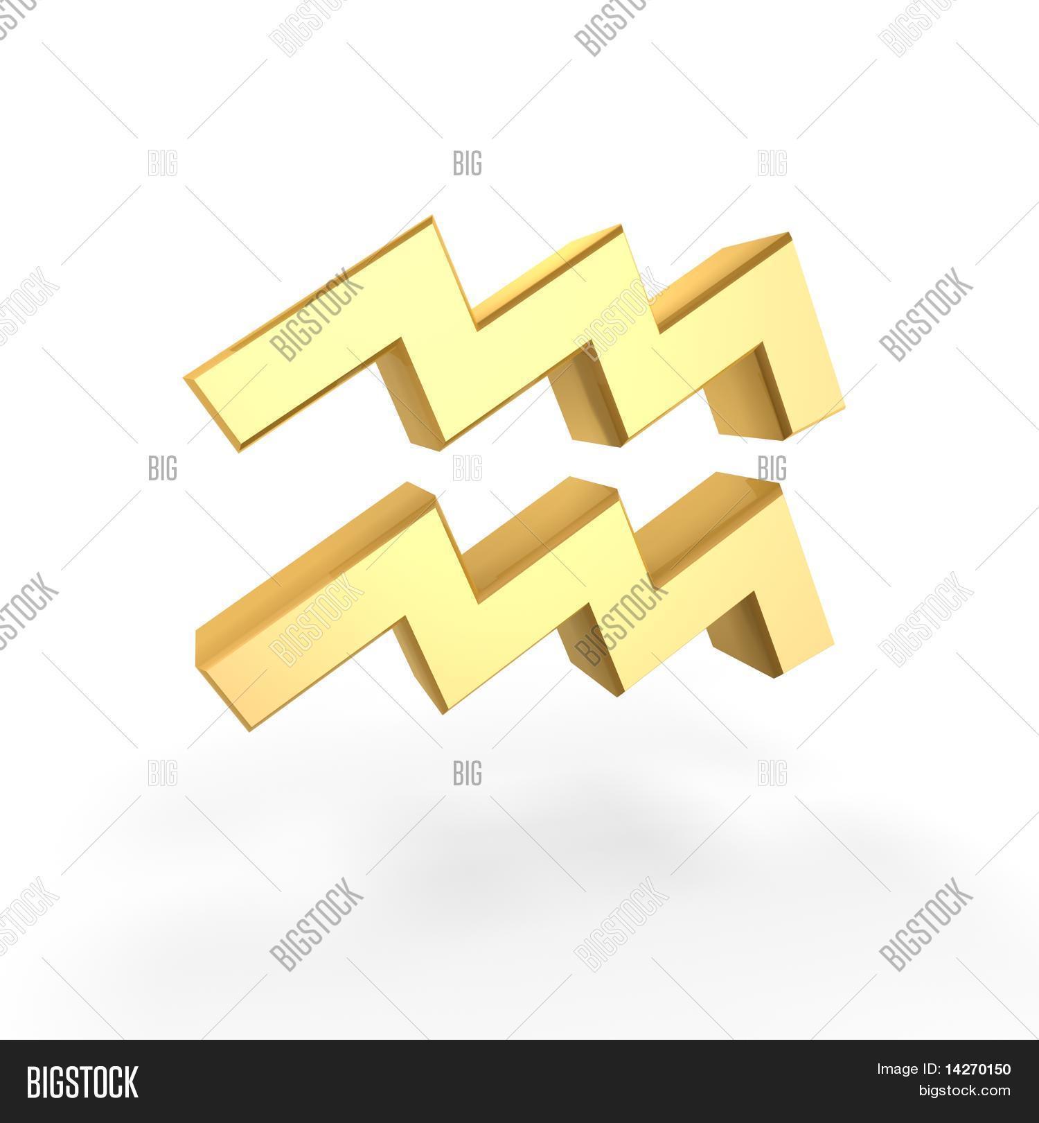 Golden Aquarius Symbol Image Photo Free Trial Bigstock