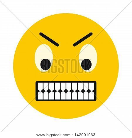 Irritated smiley icon in flat style isolated on white background. Facial expressions symbol