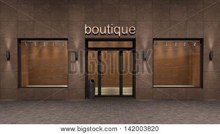 store exterior 3d illustration . fashion concept