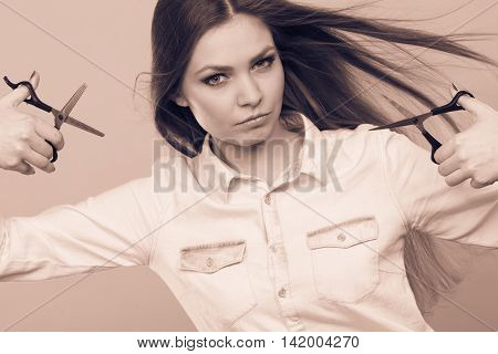 Female Barber With Trimmers Scissors.