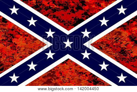 The flag of the confederates during the American Civil War with fire background