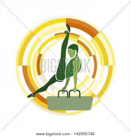 Pommel Horse. Gymnastics Sports Disciplines male silhouette.