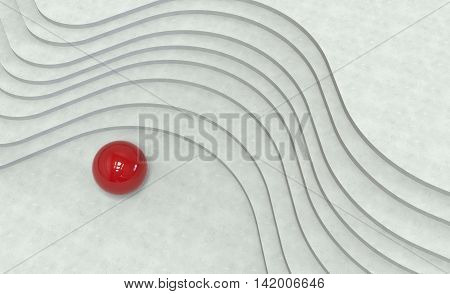 Curved Stairs And Red Metal Ball . 3D Illustration