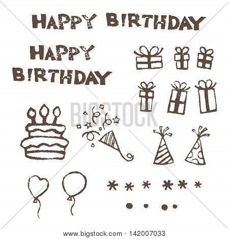 Birthday elements birthday cake gift boxes triangle hats ballonns and crakers, vector