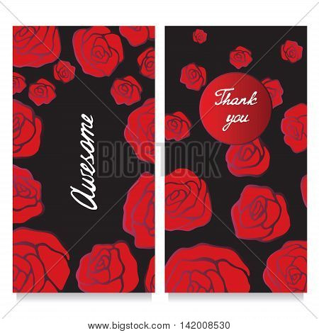 Stock vector template with rose oriental design for card banner cover layuot.