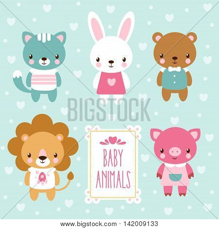 Vector illustration of baby animals. Vector set of cute baby animals.