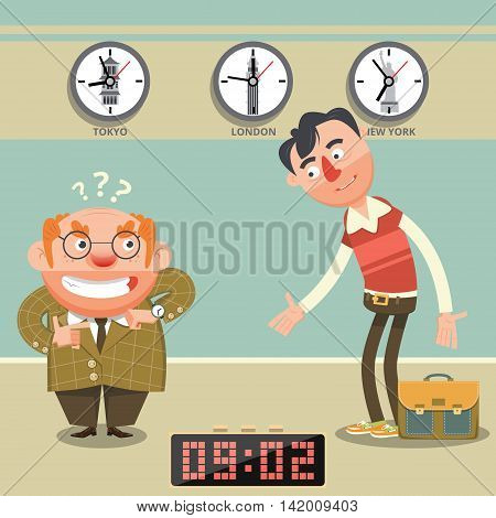 Man late for appointment flat style. Cartoon colorful vector illustration