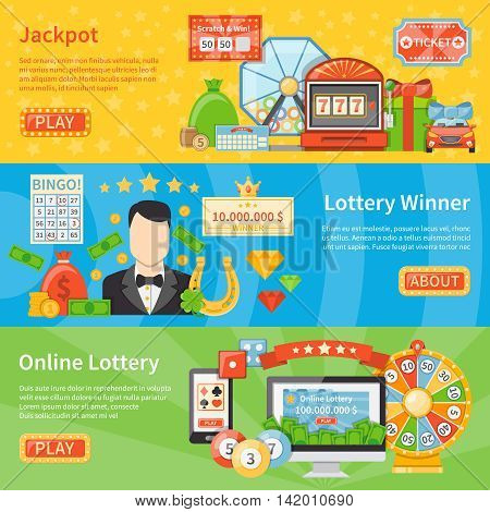 Lottery and jackpot flat horizontal banners with horseshoe scratch card lottery machine money bag decorative icons vector illustration