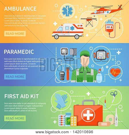 Paramedic horizontal banners with medicine chest ambulance air and car transport and medical assistant figure flat vector illustration