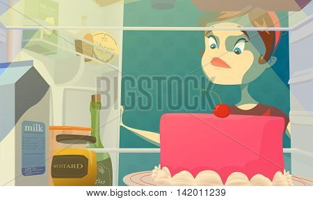 Fat hungry woman and open night fridge. Diet color vector concept creative idea stock illustration. Isolated.