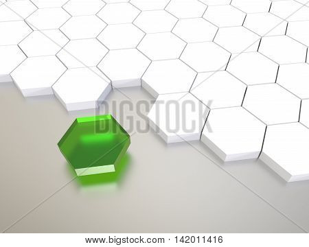 3D Illustration Render.  One Individuality Green  Cube On White Background.