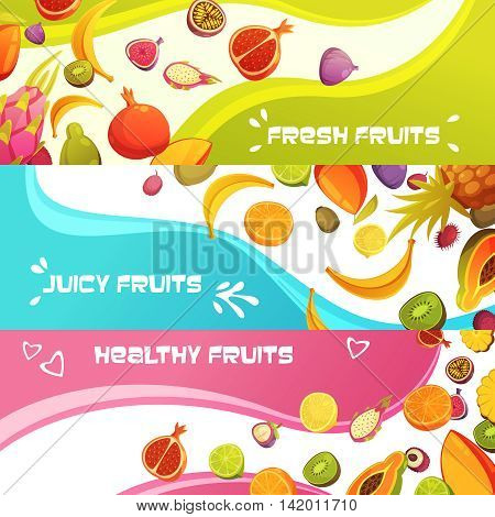 Healthy fresh fruits 3 colorful appetizing horizontal banners set with orange banana and pineapple abstract isolated vector illustration