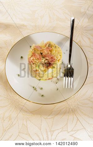 irish colcannon served on a plate with fork