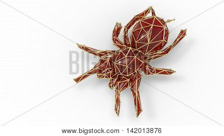 3D Render Of Shiny Luxury Crystal Sapphire Tarantula.with Edges Framed With Golden Wire