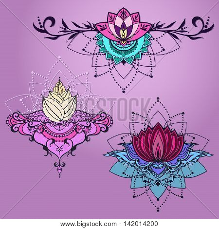 Freehand drawing of three lotus flowers in east style. Can be used for backgrounds business style tattoo templates cards design or else. Vector illustration.
