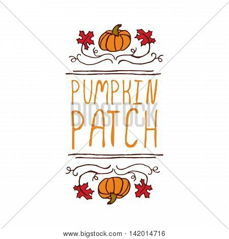 Hand-sketched typographic element with pumpkin, maple leaves and text on white background. Pumpkin patch