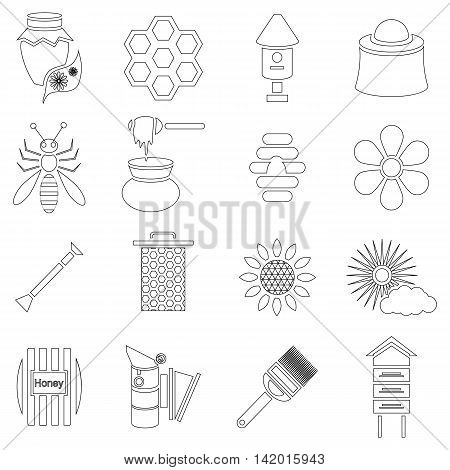 Outline apiary icons set. Universal apiary icons to use for web and mobile UI, set of basic apiary elements vector illustration