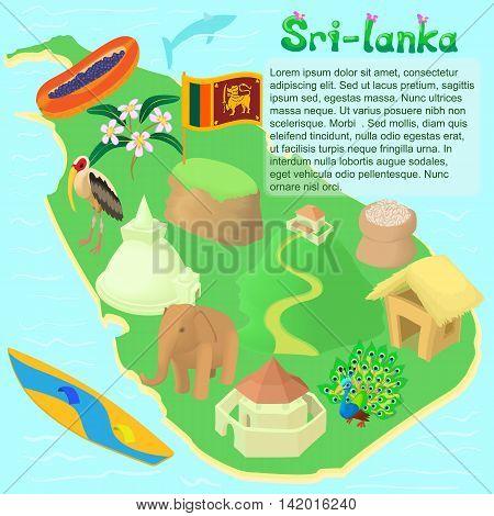 Cartoon Sri lanka map. Universal Sri lanka map to use for web and mobile UI, set of basic Sri lanka elements isolated vector illustration