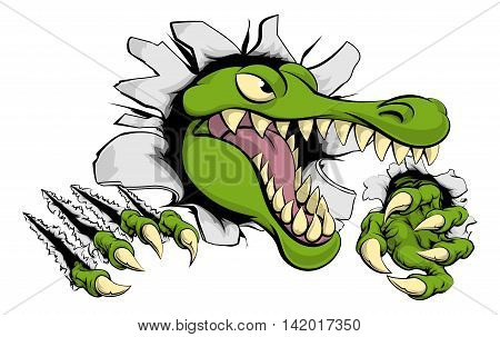 Alligator Or Crocodile Smashing Through Wall