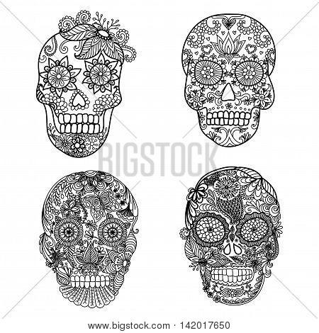 Unique floral skulls for adult coloring book and design element
