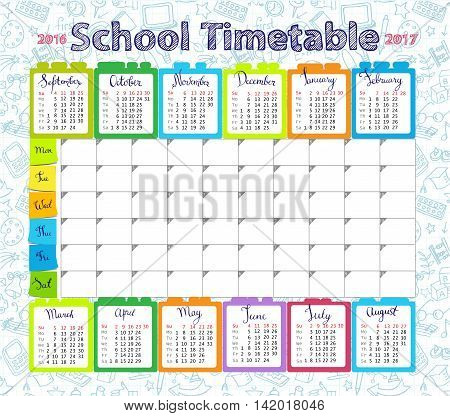 Template school timetableand calendar 2016-2017  for students or pupils with days of week and free spaces  for notes.