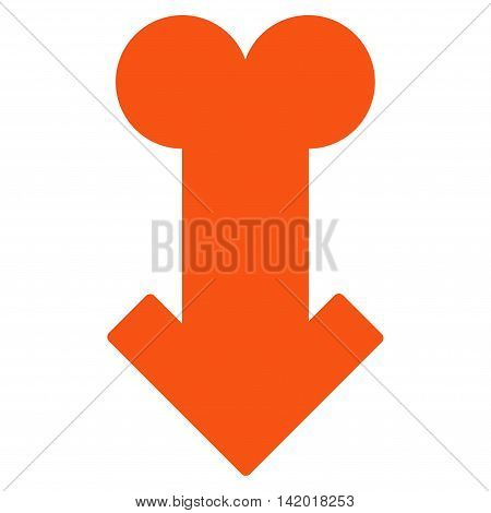 Male Sexual Disfunction vector icon. Style is flat symbol, orange color, rounded angles, white background.
