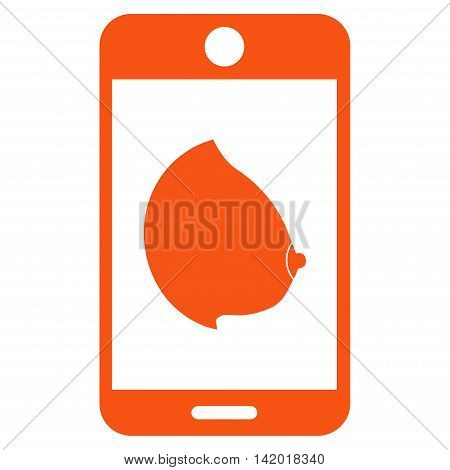 Mobile Erotic Tit vector icon. Style is flat symbol, orange color, rounded angles, white background.