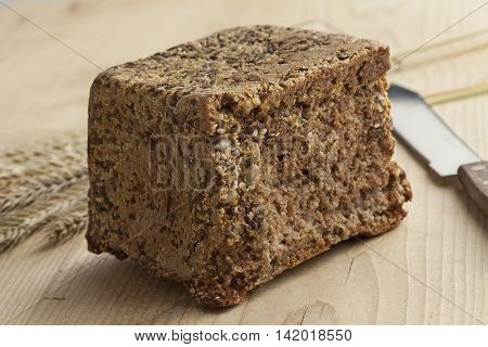 Piece of homemade fresh baked rye bread