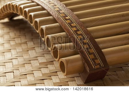 Pan flute instrument close up