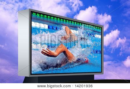 Swimming waterpool on the electronic monitor