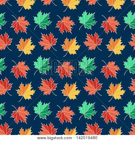 Colorful autumn seamless pattern with red yellow and green maple leaves. Nature background. Vector illustration.