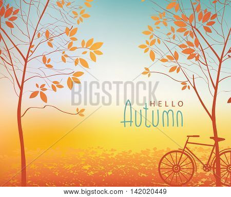 vector autumn landscape with trees in the park and bike