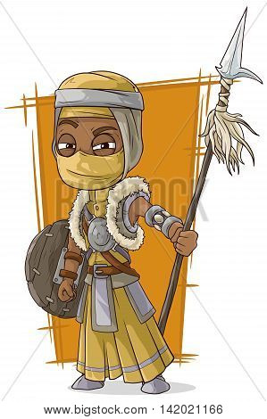 A vector illustration of cartoon cool Persian assassin with spear