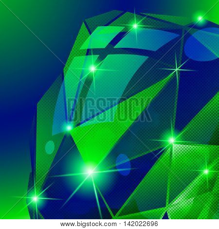 Plastic pixilated green background with dimensional complicated template synthetic dotted geometric backdrop.