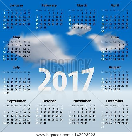 English Calendar for 2017 year with clouds in the blue sky. Best for print web design and presentations. Copy space for text messages or signs. Sundays first. Vector illustration