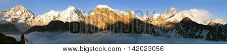 Evening panoramic view of mount Everest with beautiful clouds on the top from Gokyo Ri - Everest area Sagarmatha national park Khumbu valley Nepal