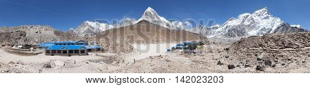 Panoramic view of Gorak Shep village Nuptse Pumo Ri and Kala Patthar view point latest lodges on the way to Everest base camp tekking trail Sagarmatha national park Khumbu valley Nepal
