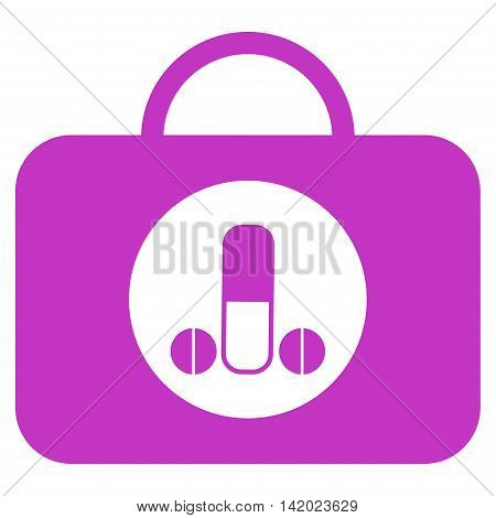 Male Sexual Toolbox vector icon. Style is flat symbol, violet color, rounded angles, white background.