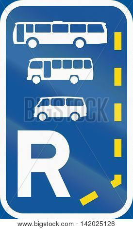 Road Sign Used In The African Country Of Botswana - Start Of A Reserved Lane For Buses, Midi-buses A