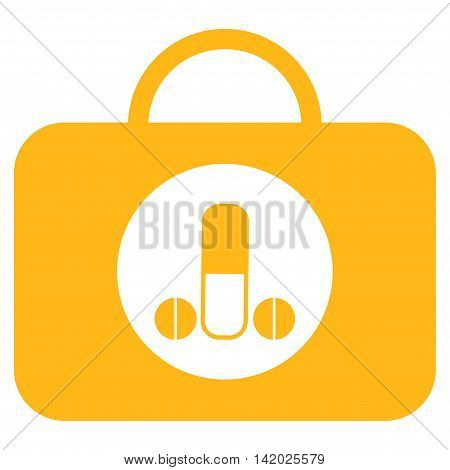 Male Sexual Toolbox vector icon. Style is flat symbol, yellow color, rounded angles, white background.