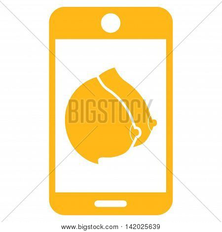 Mobile Erotic Tits vector icon. Style is flat symbol, yellow color, rounded angles, white background.
