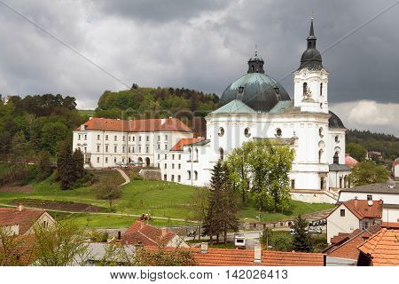 Pilgrimage Church and monastery in Krtiny village of the Name of Virgin Mary - monument from baroque architect Jan Blazej Santini Aichel - Czech Republic poster