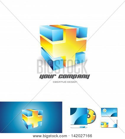 Blue orange abstract cube logo design 3d icon vector company element template games media corporate
